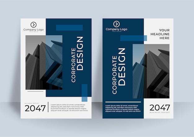Nowoczesny, niebiesko-biały układ okładki a4 dla biznesu. abstrakcyjna geometria z koncepcją korporacyjną