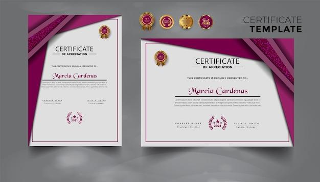 Nowoczesny nowoczesny zestaw certyfikatu osiągnięć projektowych premium