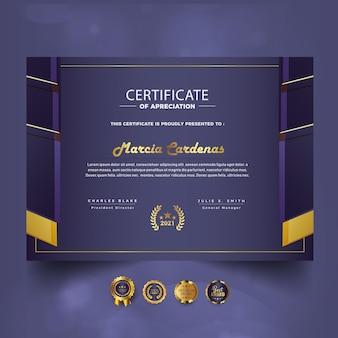 Nowoczesny Nowy Certyfikat Osiągnięć Nowy Szablon Premium Wektorów