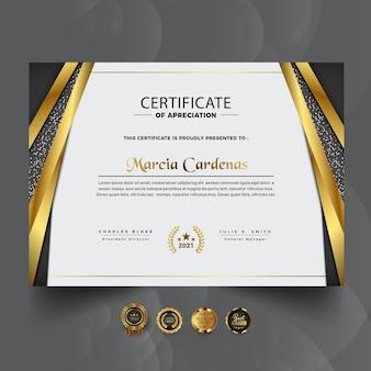 Nowoczesny nowy luksusowy profesjonalny projekt certyfikatu