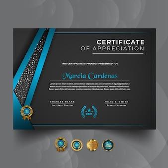 Nowoczesny nowy luksusowy profesjonalny szablon certyfikatu