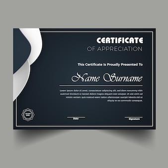 Nowoczesny nowy szablon certyfikatu dyplomu