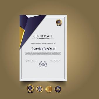 Nowoczesny nowy szablon certyfikatu