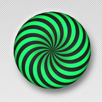 Nowoczesny obiekt 3d ilustracja wektorowa kulek teksturowanych z falistą teksturą w paski