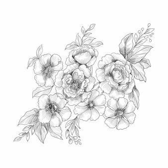 Nowoczesny ozdobny kwiatowy tło z szkicowym stylu