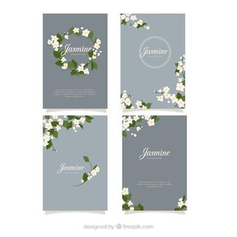 Nowoczesny pakiet eleganckich kart jaśminowych