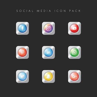Nowoczesny pakiet ikon popularnych mediów społecznościowych