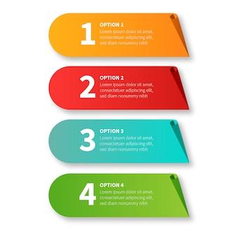 Nowoczesny pakiet kroków infografiki z projektem papercut