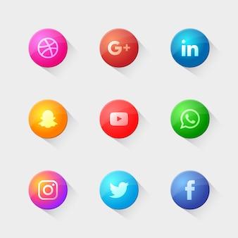 Nowoczesny Pakiet Logo Społecznościowego Premium Wektorów