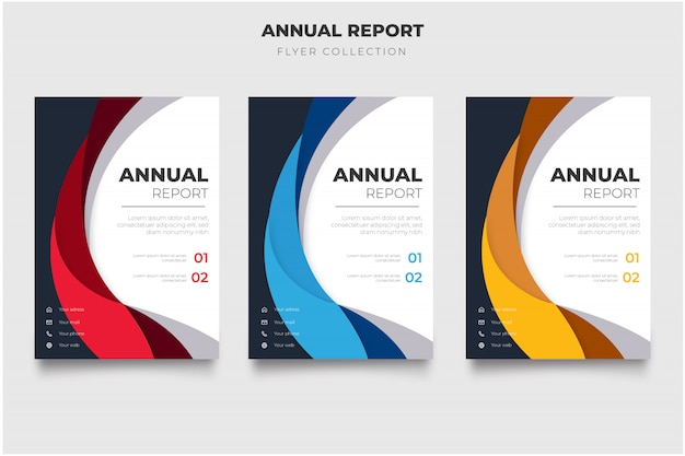 Nowoczesny pakiet ulotki rocznego raportu z falami abstrakcyjnymi