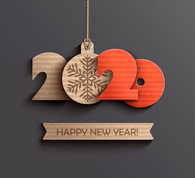 Nowoczesny papier happy new year 2020
