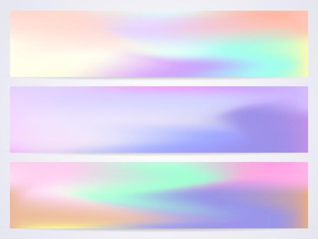Nowoczesny pastelowy szablon transparentu. zestaw płynnych nowoczesnych szablonów z opalizującymi odcieniami w różnych kolorach.