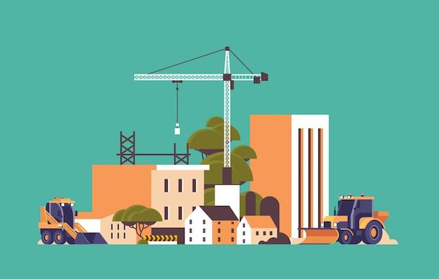 Nowoczesny plac budowy z żurawiami ciągnik i spychacz niedokończony budynek zewnętrzny płaski poziomy