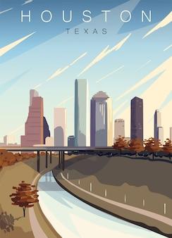 Nowoczesny plakat houston. krajobraz houston, teksas