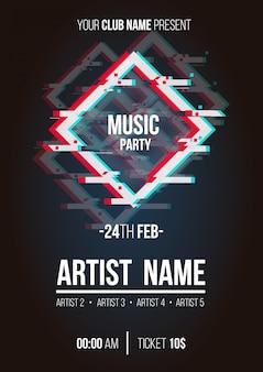 Nowoczesny plakat muzyczny z kształtami usterki