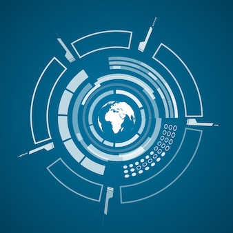 Nowoczesny plakat technologii wirtualnej z obrazem mapy świata w kolorze białym i różnymi elementami technologicznymi, kształtami na ciemnoniebieskim tle