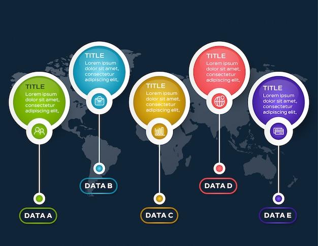 Nowoczesny plansza biznesowa z pięcioma opcjami danych