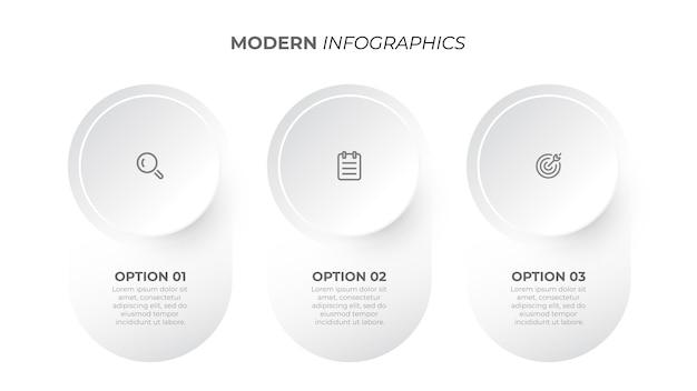 Nowoczesny plansza elementy projektu koło z ikonami marketingowymi koncepcja biznesowa z trzema szablonami opcji