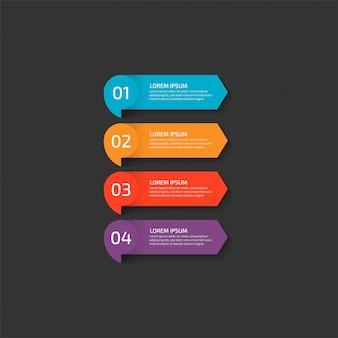 Nowoczesny plansza szablon w czterech krokach dla biznesu.