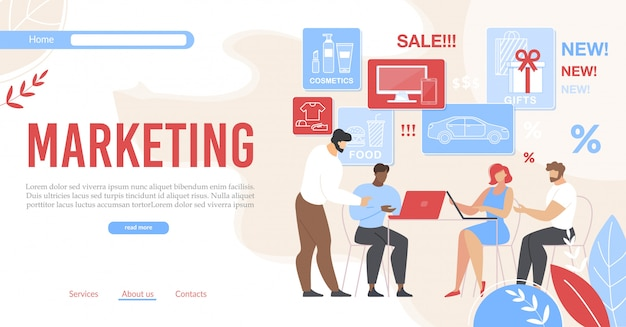 Nowoczesny płaski baner promujący udany marketing