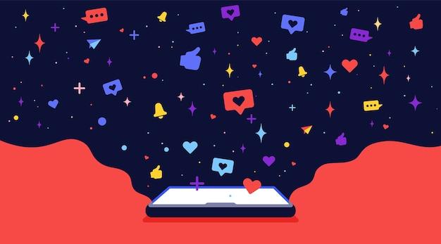 Nowoczesny, płaski charakter. telefon komórkowy z chmurami i sieciami społecznościowymi ikon. koncepcja internet samotność i samotność.