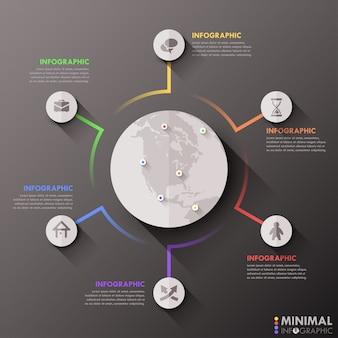 Nowoczesny płaski globalny szablon infografiki dla 6 opcji.