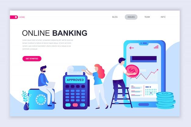 Nowoczesny płaski szablon strony internetowej bankowości internetowej