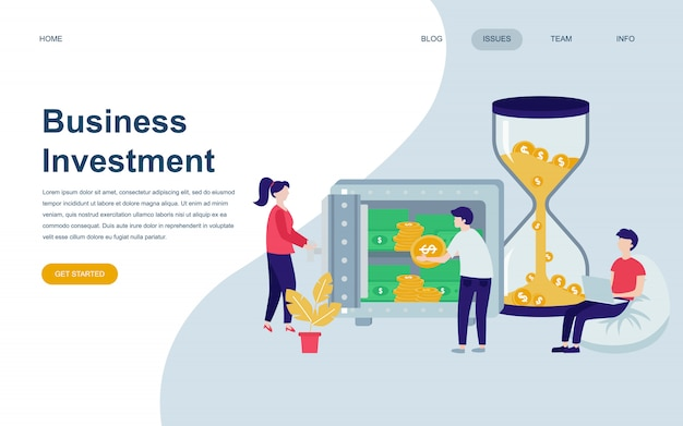 Nowoczesny płaski szablon strony internetowej business investment