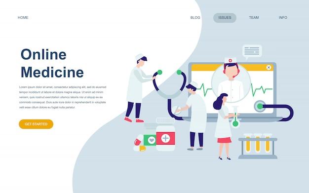 Nowoczesny płaski szablon strony internetowej medycyny
