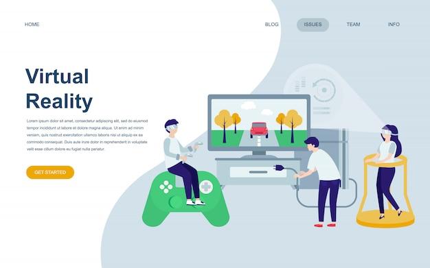 Nowoczesny płaski szablon strony internetowej virtual reality