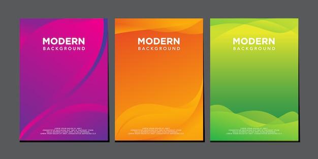 Nowoczesny płyn fala kolorowy gradient okładka projekt szablon wektor