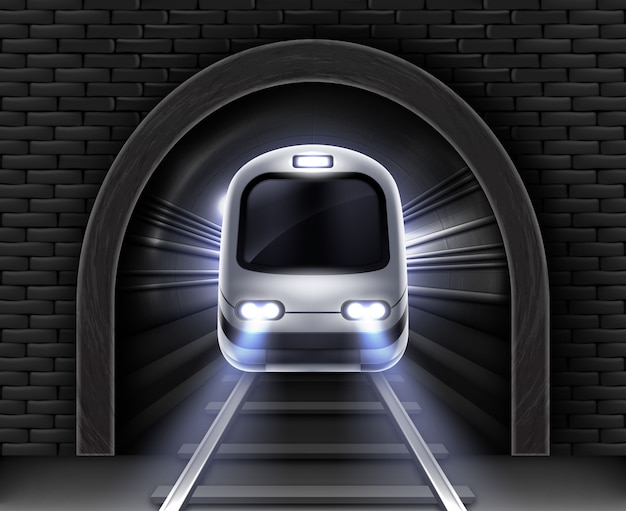 Nowoczesny pociąg metra w tunelu. realistyczna ilustracja przedniego wagonu pociągu pasażerskiego, kamienny łuk w ceglanej ścianie i szynach. podziemny transport koleją elektryczną