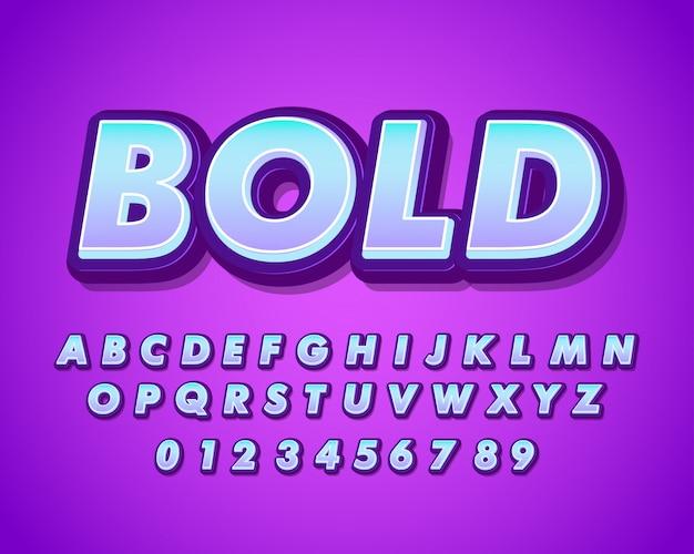Nowoczesny pogrubiony alfabet z miękkim gradientem