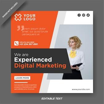 Nowoczesny post w mediach społecznościowych z banerem marketingu cyfrowego