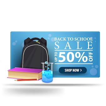 Nowoczesny powrót do szkoły zniżki niebieski transparent 3d z plecakiem szkolnym