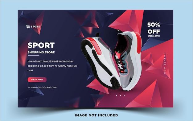 Nowoczesny poziomy baner społecznościowy sport shopping store