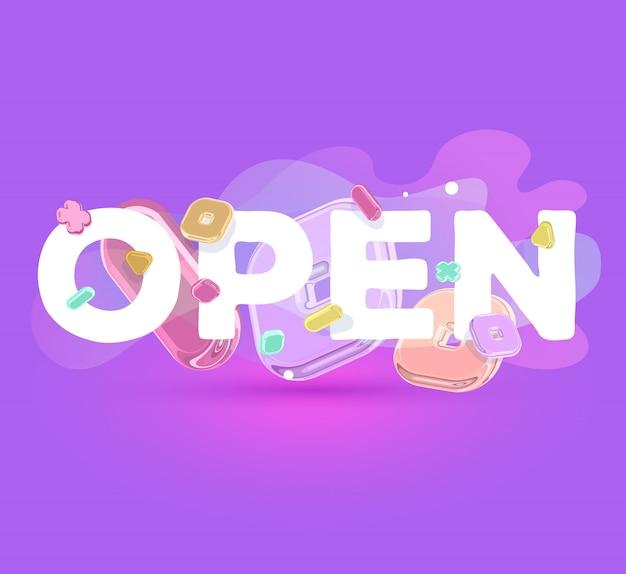 Nowoczesny pozytywny szablon z jasnymi kryształowymi elementami i słowo otwarte na fioletowym tle z cieniem.