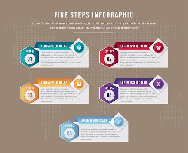 Nowoczesny proces infografiki szablon z arkuszy papieru, wielokątów z ornamentem sześciokątnym i kwadratowym