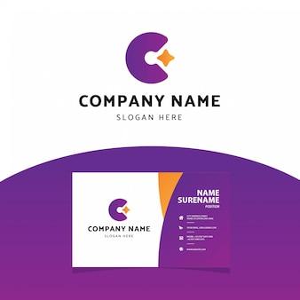 Nowoczesny profesjonalny list c logo wizytówki szablon
