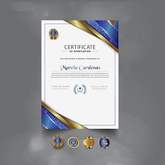 Nowoczesny profesjonalny projekt szablonu certyfikatu