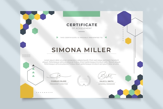 Nowoczesny profesjonalny szablon certyfikatu