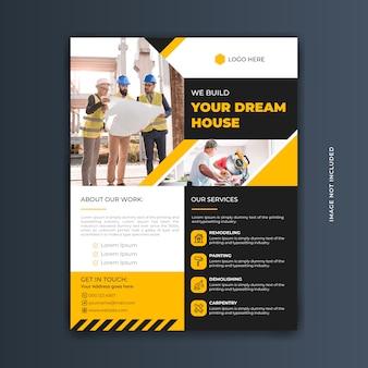 Nowoczesny profesjonalny żółty i czarny szablon ulotki budowy