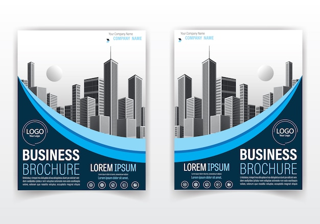 Nowoczesny projekt broszury i okładki w kolorze niebieskim