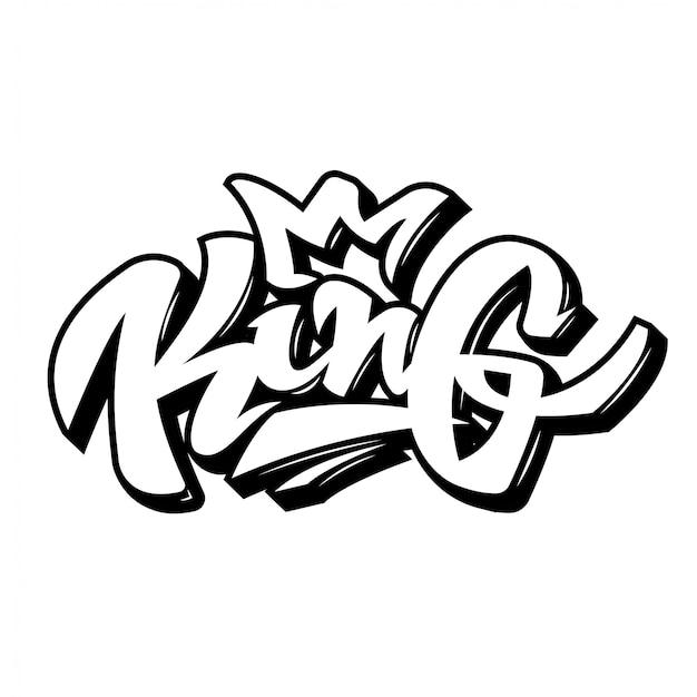 """Nowoczesny projekt ilustracji napis czarno biały kolor. napis w stylu graffiti """"king"""" z koroną"""