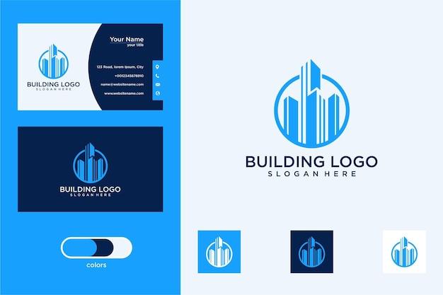 Nowoczesny projekt logo budynku i wizytówka