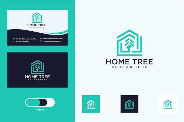 Nowoczesny projekt logo i wizytówka domku na drzewie