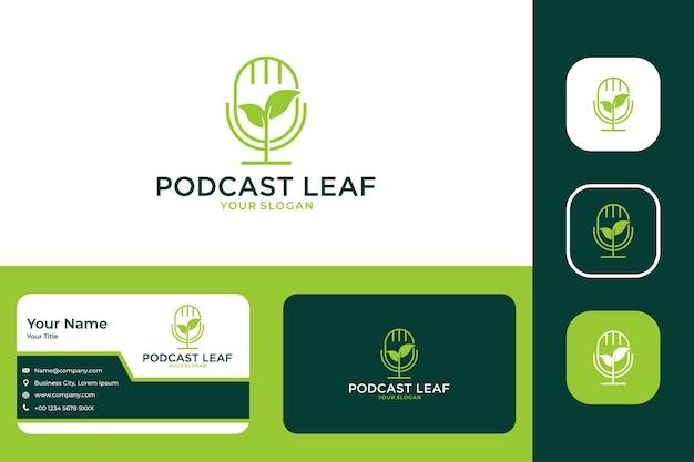 Nowoczesny projekt logo i wizytówka z zielonym liściem podcastu