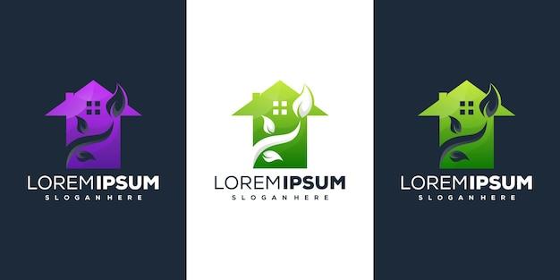 Nowoczesny projekt logo liścia domu