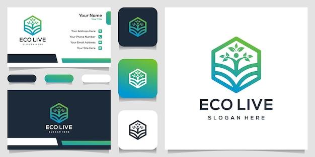 Nowoczesny projekt logo liścia i farmy z wizytówką w kształcie sześciokąta