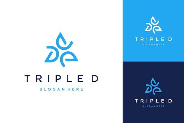 Nowoczesny projekt logo lub monogram lub inicjały litera d z trójkątami
